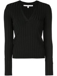 Veronica Beard Ribbed V Neck Top Black