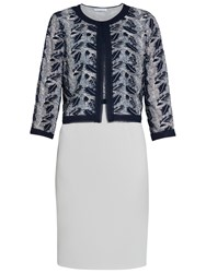 Gina Bacconi Crepe And Sequin Mesh Dress And Jacket Navy Silver