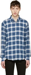 Naked And Famous Denim White Blue Dobby Check Shirt