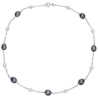A B Davis Freshwater Pearl And Cubic Zirconia Necklace Blue