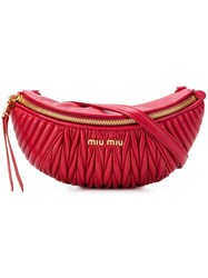 Miu Miu Ribbed Belt Bag Red