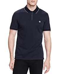 The Kooples Pique And Elastic Rib Slim Fit Polo Navy