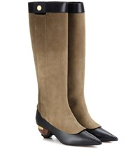 Marni Embellished Suede And Leather Knee High Boots Brown