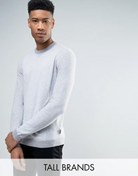 Ted Baker Tall Crew Neck Jumper In Texture Grey Marl