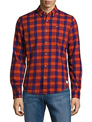 Scotch And Soda Button Down Cotton Check Shirt Red Combo