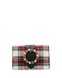 Miu Miu Plaid Wool Buckle Clutch Bag Neutral