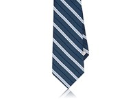 Fairfax Men's Striped Silk Necktie Navy White Light Blue Yellow