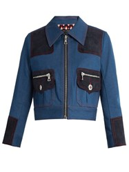 Marc Jacobs Zip Front Cropped Denim Jacket Blue