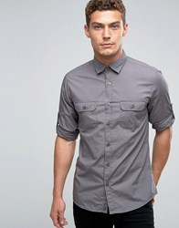 United Colors Of Benetton Roll Sleeve Shirt Grey 01V