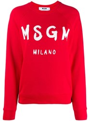 Msgm Logo Ribbed Crew Neck Sweater Red
