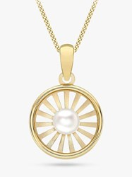 Ibb 9Ct Gold Freshwater Pearl Sunray Pendant Necklace Gold