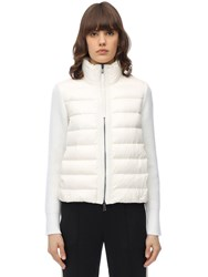 Moncler Nylon And Wool Short Down Jacket White