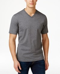 Club Room Men's Cotton V Neck T Shirt Only At Macy's Charcoal Heather
