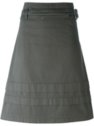 Romeo Gigli Vintage Belted A Line Skirt Green