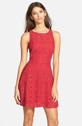 Women's Bb Dakota 'Renley' Lace Fit And Flare Dress True Red