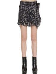 Faith Connexion Techno Tweed Mini Skirt W Bow Black