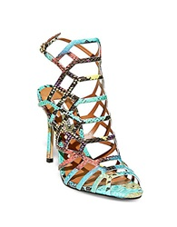 Steve Madden Slithur Embossed Caged Sandals Multi Colored