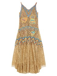 Peter Pilotto Metallic Lace Gown Gold