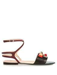 Fendi Embellished Leather Sandals Black Multi