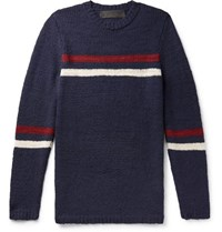 The Elder Statesman Slim Fit Striped Cashmere Sweater Navy