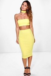 Boohoo Choker Cut Out Bandeau Midi Dress Lemon