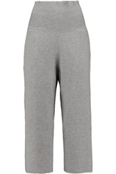 James Perse Cropped Merino Wool Blend Straight Leg Pants Gray