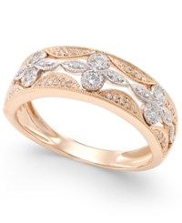 Macy's Diamond Deco Flower Ring 1 4 Ct. T.W. In 14K Rose Gold With White Gold Accents