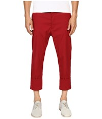 Vivienne Westwood James Bond Stretch Cotton Cropped Trousers Red Men's Casual Pants