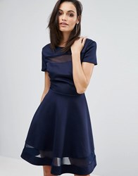 Club L Office Skater Dress With Mesh Panel Insert Navy
