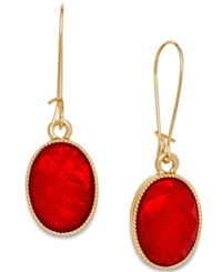 Style And Co. Gold Tone Red Oval Stone Drop Earrings