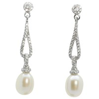 Lido Pearls Long Oval Cubic Zirconia And Freshwater Pearl Drop Earrings Silver