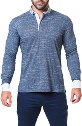 Maceoo Newton Trim Fit Check Long Sleeve Polo Blue