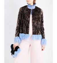 Shrimps Tucker Leopard Print Faux Fur Coat Leopard Sky Blue