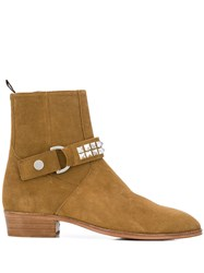 Represent Studded Strap Ankle Boots Neutrals