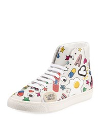 Anya Hindmarch Stickers Leather High Top Sneaker White