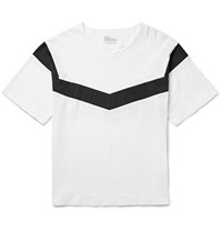 White Mountaineering Oversized Striped Cotton Jersey T Shirt White