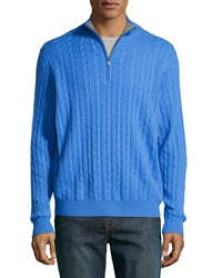Neiman Marcus Zip Front Cashmere Cable Knit Pullover Sweater Blue