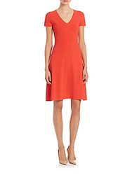 Peserico Short Sleeve A Line Dress Coral
