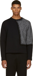 Cnc Costume National Black And Grey Knit Patch Sweatshirt
