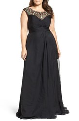 Mac Duggal Plus Size Women's Embellished Goddess Gown