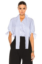 J.W.Anderson J.W. Anderson Ruched Sleeve Top In Blue Stripes Blue Stripes