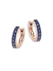 Astley Clarke Mini Halo Blue Sapphire And 14K Rose Gold Hoop Earrings