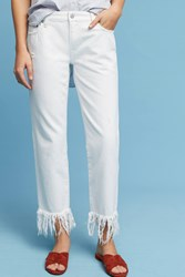 Anthropologie Pilcro Hyphen Mid Rise Straight Fringed Jeans White