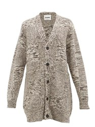 Jil Sander Oversized Recycled Cashmere Cardigan Brown Multi