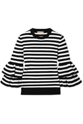 Michael Kors Collection Ruffled Striped Cashmere Blend Sweater Black