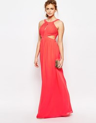 Little Mistress Chiffon Maxi Dress With Cut Outs Coral Pink
