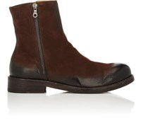 Barneys New York Men's Burnished Suede Side Zip Boots Dark Brown