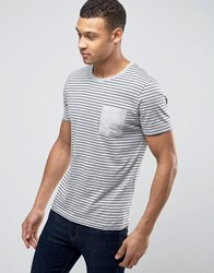 Selected Homme Stripe Tee With Pocket Dove Ombre Blue Grey