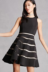 Forever 21 Mesh Insert Fit And Flare Dress Black