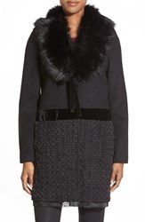 Women's Vera Wang 'Vera' Faux Fur Collar Wool Blend Ribbon Bottom Coat